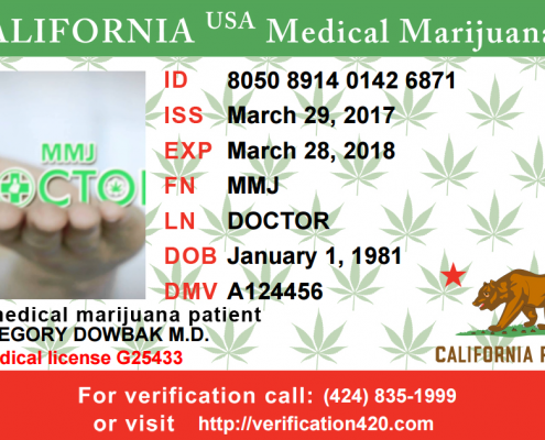 MMJ DOCTOR MEDICAL MARIJUANA ID CARD SAMPLE