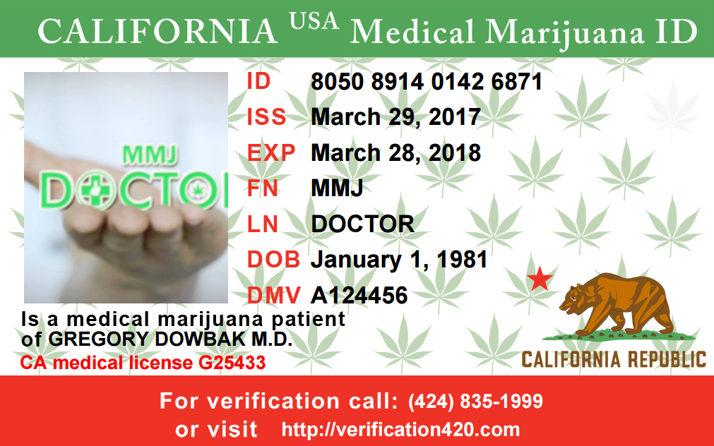 Mmj Doctor. California Medical Marijuana Card Example.