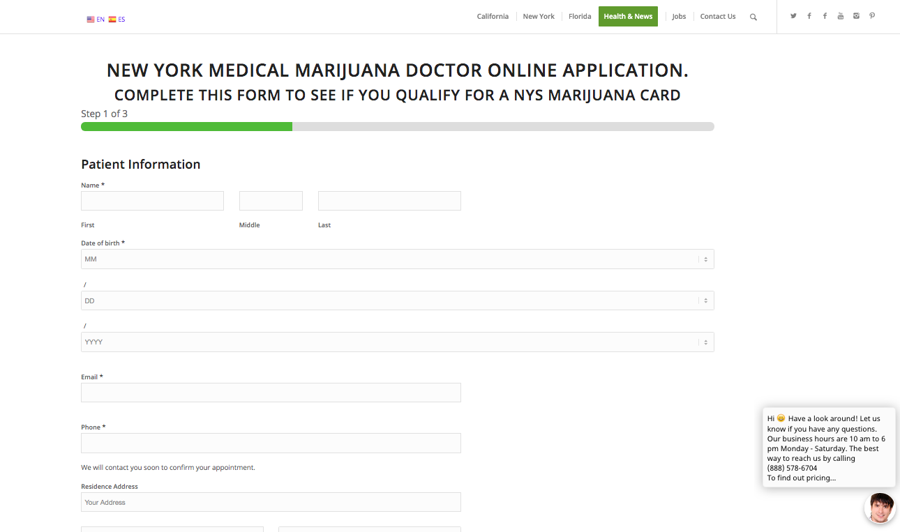 step 1 to apply for marijuana card in New York