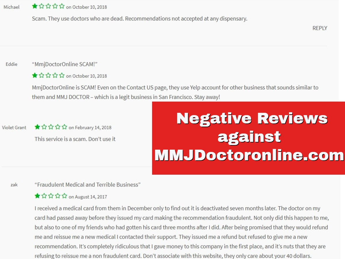 mmjdoctoronline negative customer reviews